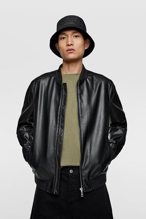 Zara Contrast faux leather bomber jacket