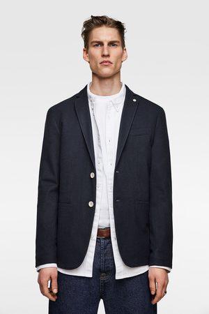 Zara Textured weave blazer with elbow patches