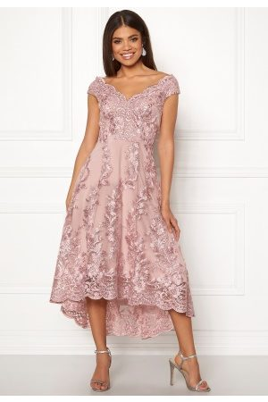 Goddiva Naiset Midimekot - Embroidered Lace Dress Blush S (UK10)