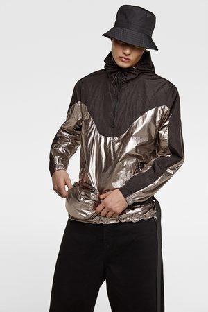 Zara Shiny pouch pocket parka with belt bag