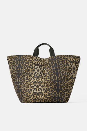 Zara Naiset Isot laukut & ostoslaukut - Animal print quilted tote bag