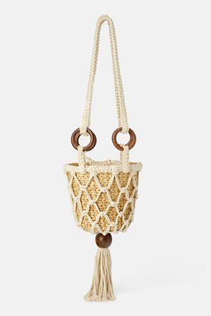 Zara Naiset Olkalaukut - Natural straw crossbody bag