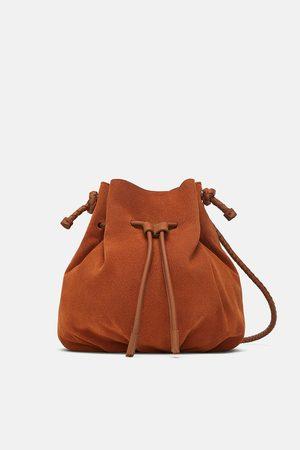 Zara Split suede crossbody bucket bag