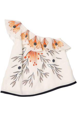 Chloé One Shoulder Printed Satin Silk Top