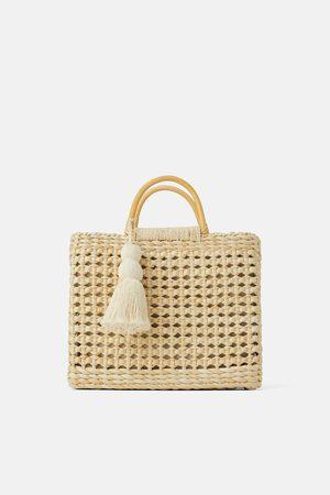 Zara Naiset Isot laukut & ostoslaukut - Beige tote bag with wooden handles