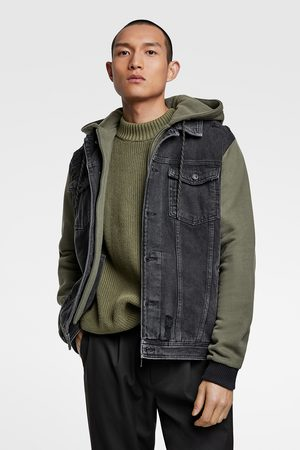 Zara Contrast hooded denim jacket
