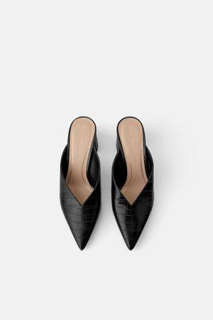 Zara Animal print v vamp mid-heel mules