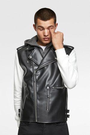 Zara Contrast faux leather gilet