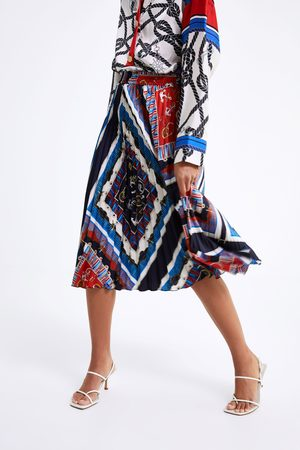 Zara Pleated printed skirt with knots