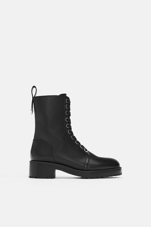 Zara Micro-studded leather biker ankle boots