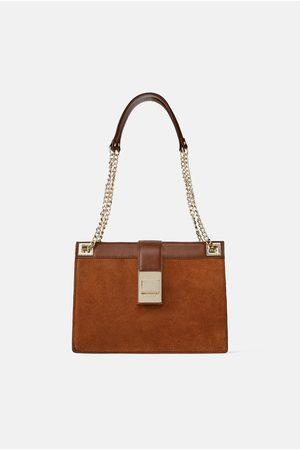 Zara Leather crossbody bag with metal clasp