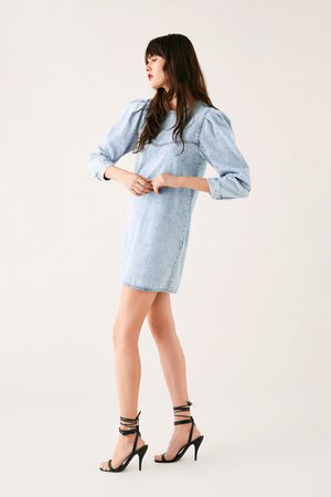 Zara Denim dress with puffy sleeves