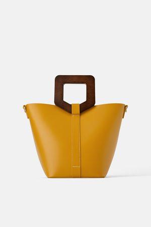 Zara Rigid tote bag with wooden handle