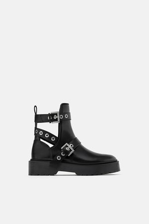 Zara Cut-out biker ankle boots