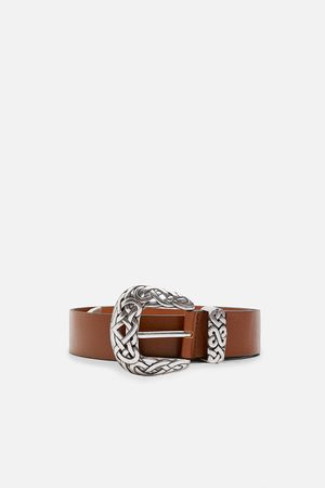 Zara Leather belt with embossed buckle