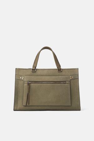Zara Naiset Olkalaukut - Leather crossbody bag with braided detail