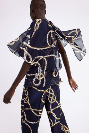 Zara Printed cape style blouse