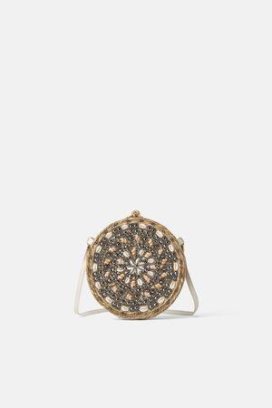 Zara Esparto crossbody bag with seashells