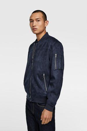 Zara Miehet Talvitakit - Faux suede bomber jacket