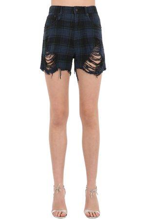 R13 Shredded Slouch Cotton Denim Shorts