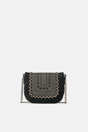 Zara Natural fringed crossbody bag