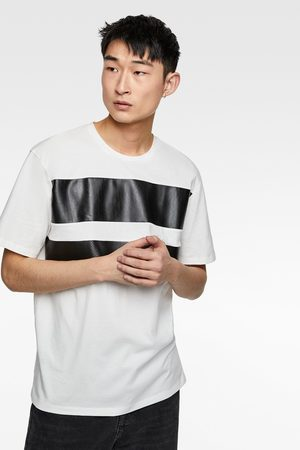 Zara T-shirt with faux leather stripes