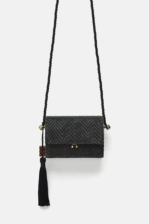 Zara Mini raffia crossbody bag