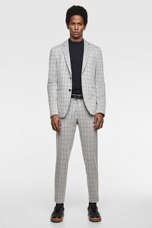 Zara 4-way check comfort knit suit blazer