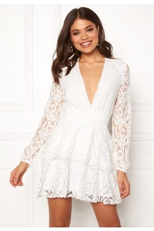 John Zack Lace Deep V Skater Dress White S (UK10)