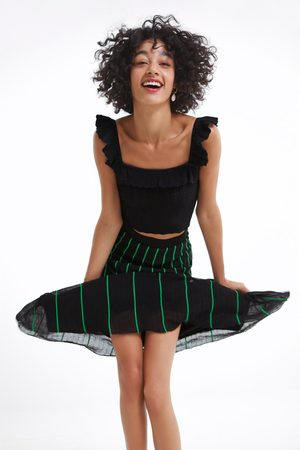 Zara Printed stripe-effect skirt