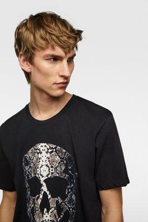 Zara Textured skull t-shirt