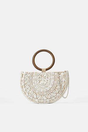 Zara Naiset Olkalaukut - Natural beaded oval crossbody bag