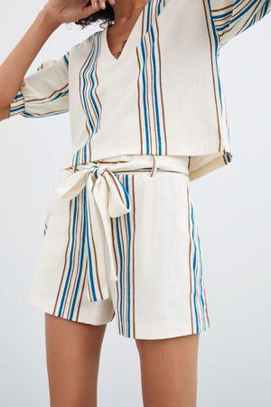 Zara Naiset Bermuda-shortsit - Striped rustic shorts