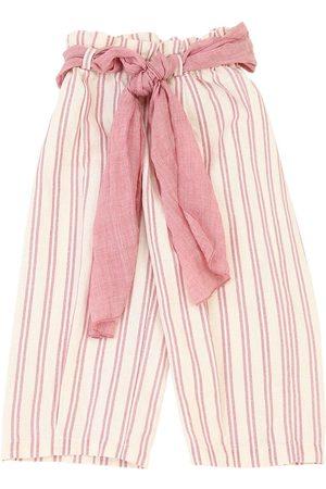 OPILILAI Tytöt Housut - Striped Cotton & Linen Blend Pants