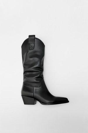 Zara Leather cowboy heel boots