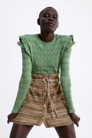 Zara Striped rustic skirt with belt
