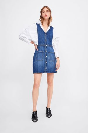 Zara Denim pinafore dress with pockets