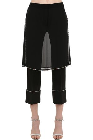 MARCO DE VINCENZO Embellished Pants W/ Skirt Panels