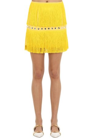 Sara Battaglia Embellished Mini Skirt W/ Fringes