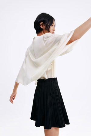 Zara Asymmetric cape sleeve blouse