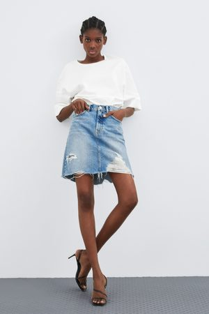 Zara Naiset Kynähameet - Distressed denim pencil skirt