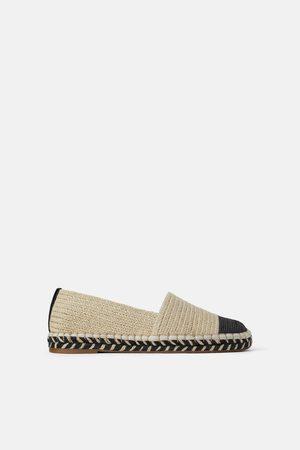 Zara Naiset Lakit - Natural espadrilles with contrast toe cap