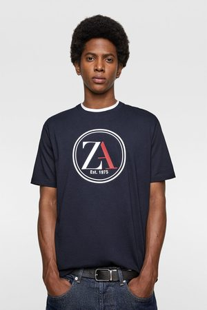 Zara Miehet T-paidat - T-shirt with lines and logo