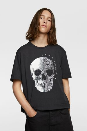 Zara Miehet T-paidat - Beaded skull t-shirt