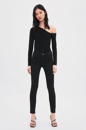 Zara Naiset Kapeat Housut - Mid rise skinny compact regular length essential jeans