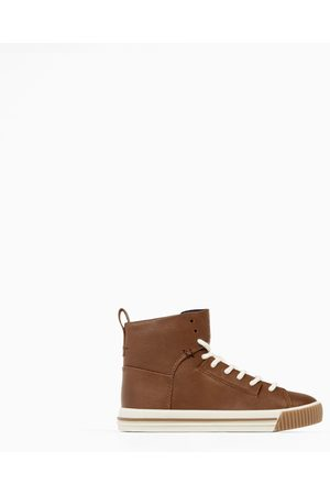 Zara LEATHER HIGH-TOP SNEAKERS