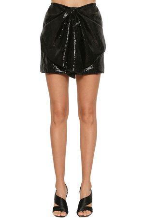 INGIE Sequined Draped Mini Skirt