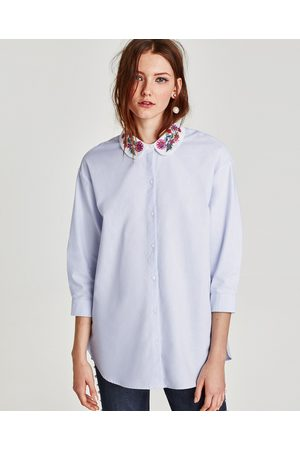 Zara OXFORD SHIRT WITH EMBROIDERED COLLAR