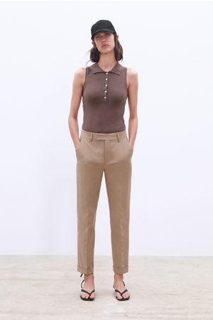 Zara Straight-leg stretch trousers