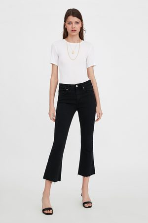 Zara Cropped flare mid-rise jeans